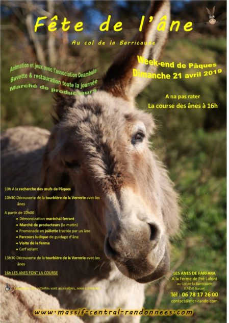 3e Fête de l'âne à la ferme de Pré Lafont dans les monts d'Ardèche