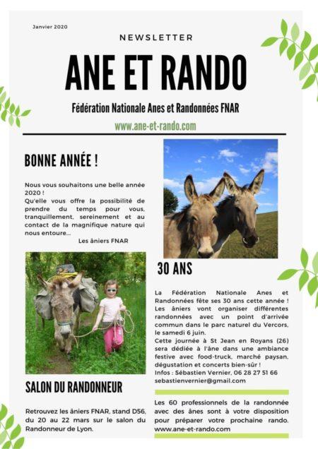la 1ère news letter d'Anes et Randonnées